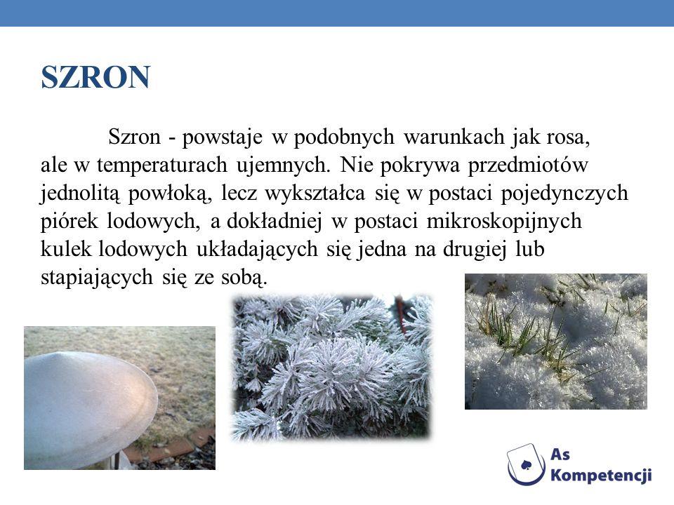 SZRON Szron - powstaje w podobnych warunkach jak rosa, ale w temperaturach ujemnych.
