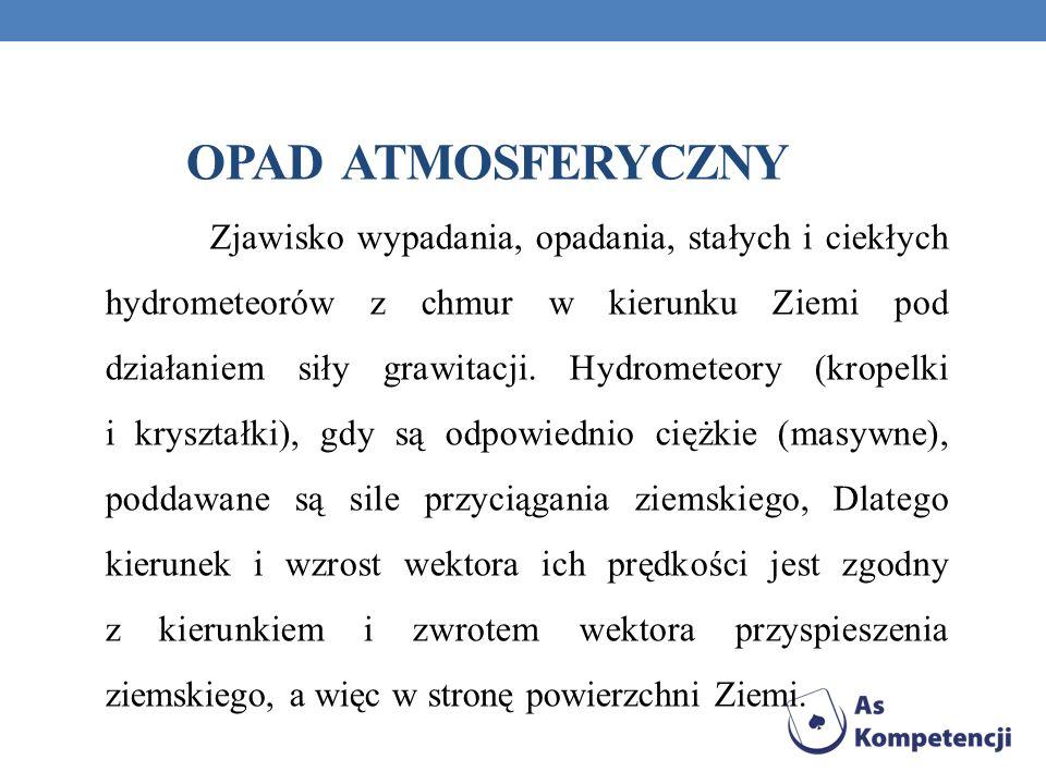 OPAD ATMOSFERYCZNY Zjawisko wypadania, opadania, stałych i ciekłych hydrometeorów z chmur w kierunku Ziemi pod działaniem siły grawitacji. Hydrometeor