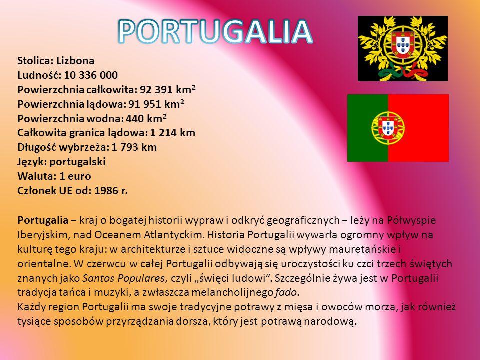 Stolica: Lizbona Ludność: 10 336 000 Powierzchnia całkowita: 92 391 km 2 Powierzchnia lądowa: 91 951 km 2 Powierzchnia wodna: 440 km 2 Całkowita grani