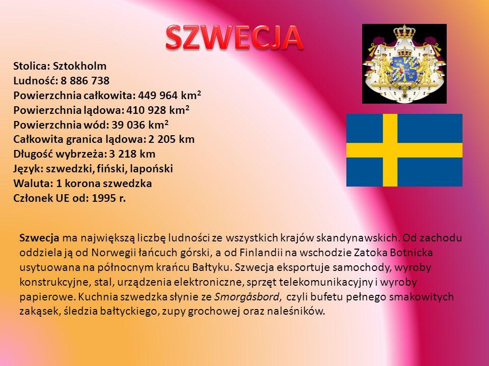 Stolica: Sztokholm Ludność: 8 886 738 Powierzchnia całkowita: 449 964 km 2 Powierzchnia lądowa: 410 928 km 2 Powierzchnia wód: 39 036 km 2 Całkowita g