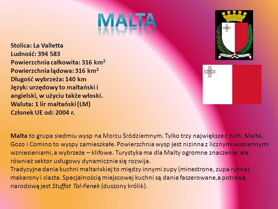 Stolica: La Valletta Ludność: 394 583 Powierzchnia całkowita: 316 km 2 Powierzchnia lądowa: 316 km 2 Długość wybrzeża: 140 km Język: urzędowy to malta
