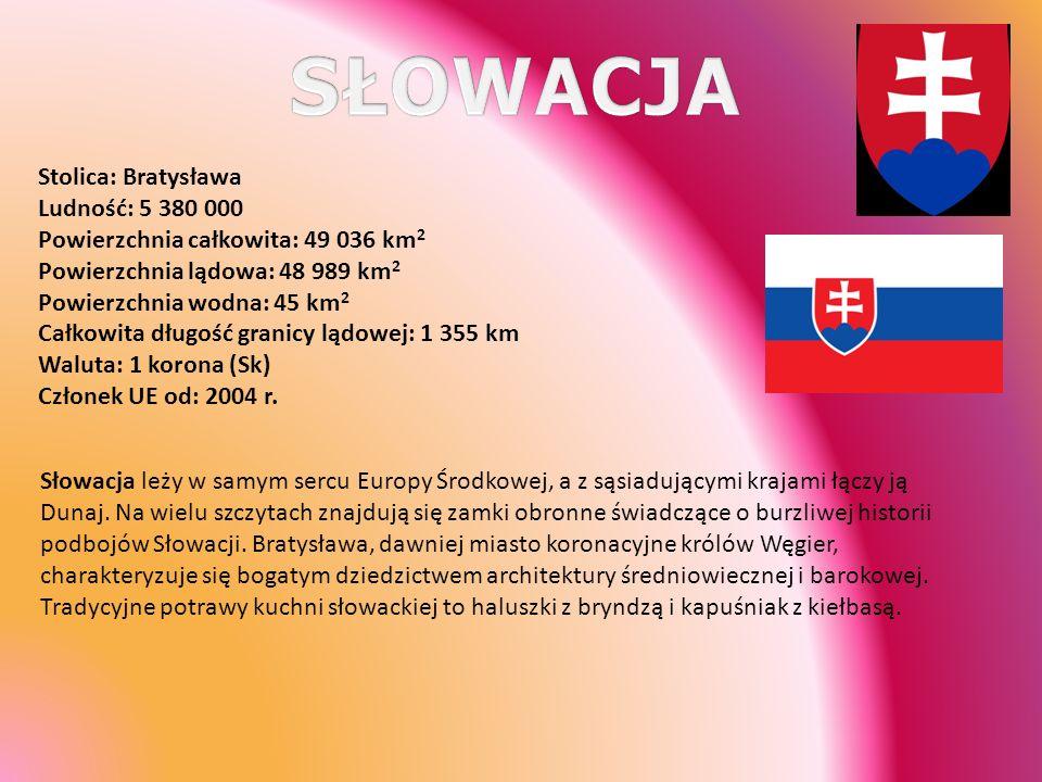 Stolica: Bratysława Ludność: 5 380 000 Powierzchnia całkowita: 49 036 km 2 Powierzchnia lądowa: 48 989 km 2 Powierzchnia wodna: 45 km 2 Całkowita dług