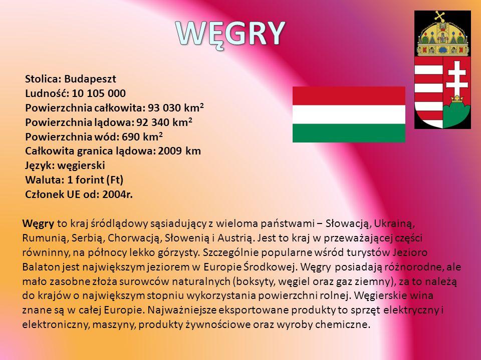 Stolica: Budapeszt Ludność: 10 105 000 Powierzchnia całkowita: 93 030 km 2 Powierzchnia lądowa: 92 340 km 2 Powierzchnia wód: 690 km 2 Całkowita grani