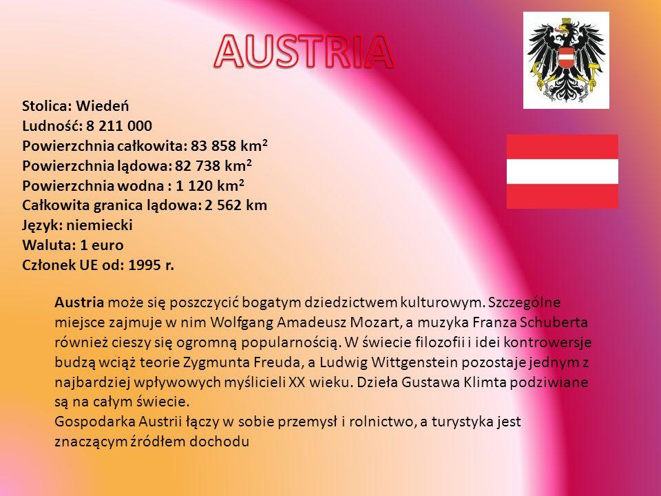 Stolica: Bruksela Ludność: 10,3 mln (2002) Powierzchnia całkowita: 30 528 km 2 Powierzchnia lądowa: 30 238 km 2 Powierzchnia wodna: 290 km 2 Całkowita granica lądowa: 1 385 km Długość wybrzeża: 64 km Język: francuski, niemiecki, niderlandzki (dialekt flamandzki) Waluta: 1 euro Członek UE od: 1957 r.