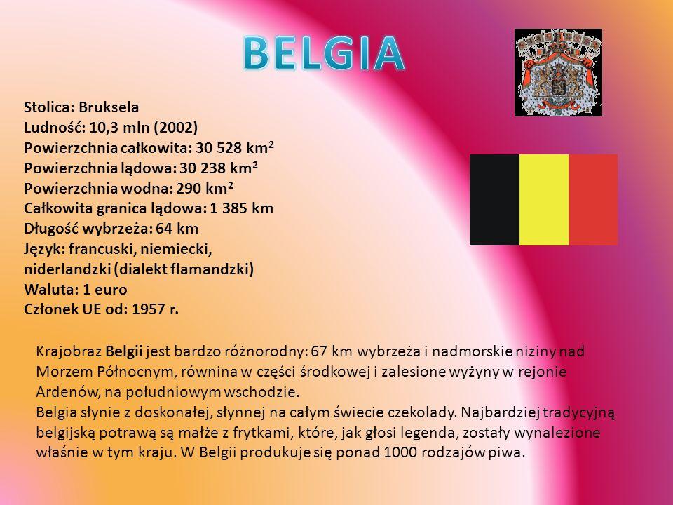 Stolica: Bruksela Ludność: 10,3 mln (2002) Powierzchnia całkowita: 30 528 km 2 Powierzchnia lądowa: 30 238 km 2 Powierzchnia wodna: 290 km 2 Całkowita