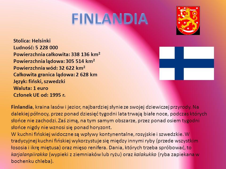 Stolica: Helsinki Ludność: 5 228 000 Powierzchnia całkowita: 338 136 km 2 Powierzchnia lądowa: 305 514 km 2 Powierzchnia wód: 32 622 km 2 Całkowita gr