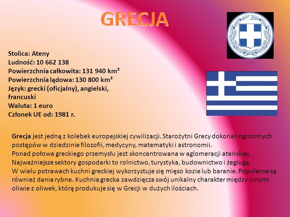 Stolica: Ateny Ludność: 10 662 138 Powierzchnia całkowita: 131 940 km² Powierzchnia lądowa: 130 800 km² Język: grecki (oficjalny), angielski, francusk