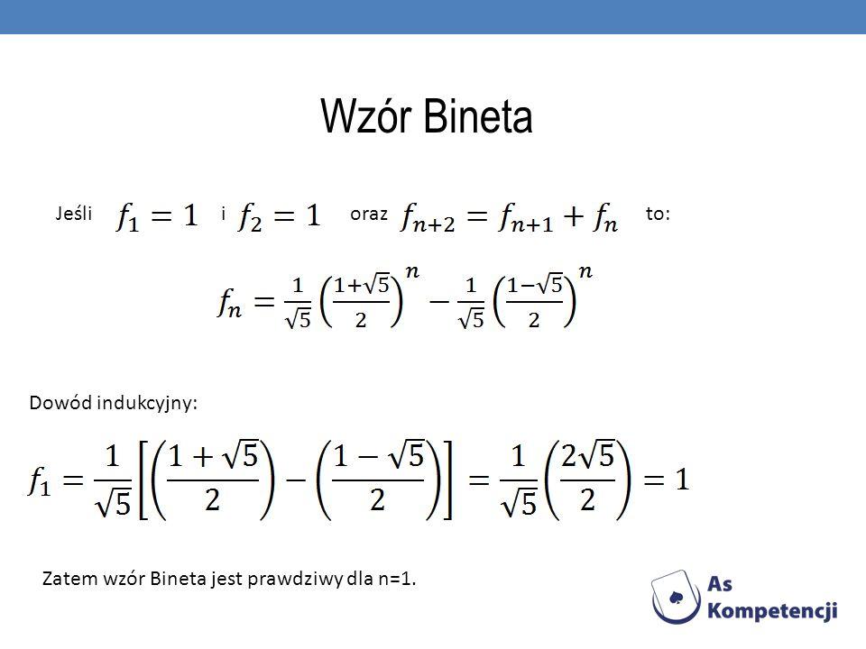 Wzór Bineta Jeśli i oraz to: Dowód indukcyjny: Zatem wzór Bineta jest prawdziwy dla n=1.