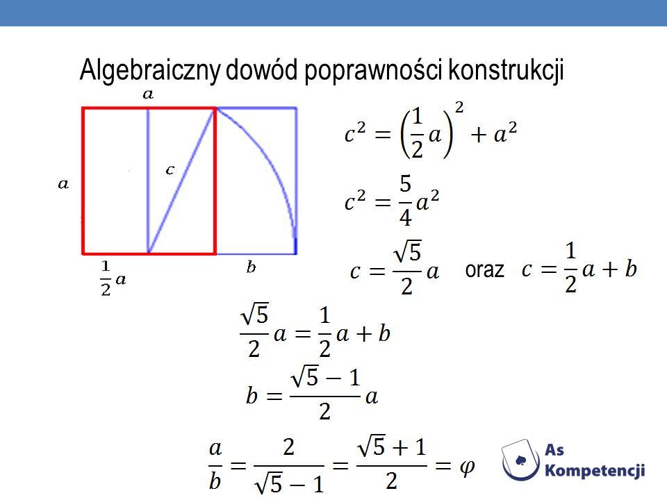 Algebraiczny dowód poprawności konstrukcji oraz