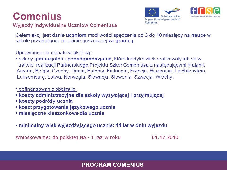 Comenius Wyjazdy Indywidualne Uczniów Comeniusa Celem akcji jest danie uczniom możliwości spędzenia od 3 do 10 miesięcy na nauce w szkole przyjmującej