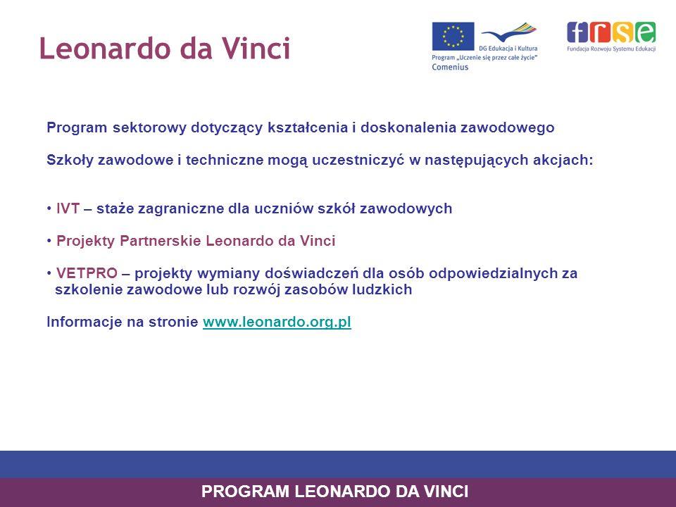 Leonardo da Vinci Program sektorowy dotyczący kształcenia i doskonalenia zawodowego Szkoły zawodowe i techniczne mogą uczestniczyć w następujących akcjach: IVT – staże zagraniczne dla uczniów szkół zawodowych Projekty Partnerskie Leonardo da Vinci VETPRO – projekty wymiany doświadczeń dla osób odpowiedzialnych za szkolenie zawodowe lub rozwój zasobów ludzkich Informacje na stronie www.leonardo.org.plwww.leonardo.org.pl PROGRAM LEONARDO DA VINCI