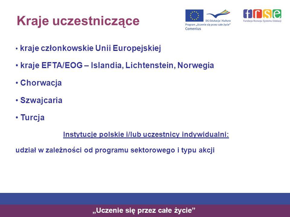 Kraje uczestniczące kraje członkowskie Unii Europejskiej kraje EFTA/EOG – Islandia, Lichtenstein, Norwegia Chorwacja Szwajcaria Turcja Instytucje polskie i/lub uczestnicy indywidualni: udział w zależności od programu sektorowego i typu akcji Uczenie się przez całe życie