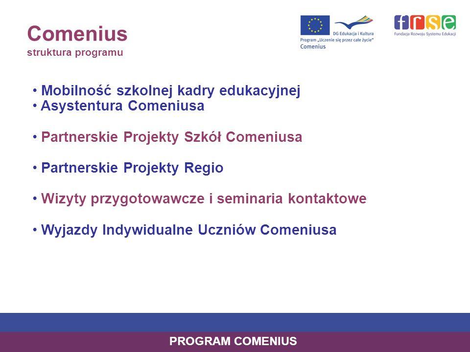 Comenius struktura programu Mobilność szkolnej kadry edukacyjnej Asystentura Comeniusa Partnerskie Projekty Szkół Comeniusa Partnerskie Projekty Regio Wizyty przygotowawcze i seminaria kontaktowe Wyjazdy Indywidualne Uczniów Comeniusa PROGRAM COMENIUS