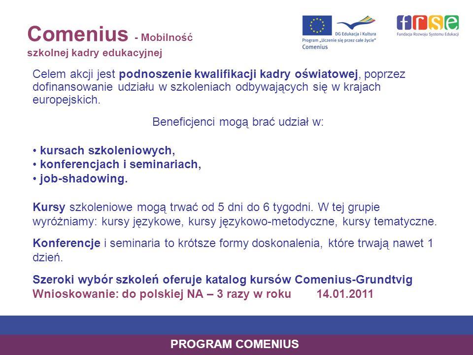 Comenius asystentura Comeniusa Akcja skierowana jest do studentów kierunków nauczycielskich oraz do szkół, które chciałyby gościć asystenta; Rola asystenta: nauczanie języka obcego nauczanie innego przedmiotu pomaganie w przygotowaniu i realizacji Partnerskich Projektów Szkół Comeniusa wzbogacanie programu nauczania o elementy wiedzy o Unii Europejskiej pomaganie uczniom niepełnosprawnym oraz uczniom mającym trudności w nauce promowanie informacji o swym kraju ojczystym przygotowywanie materiałów dydaktycznych Szkoła goszcząca wyznacza dla asystenta opiekuna, w pełni wykwalifikowanego nauczyciela, który nadzoruje pracę asystenta, sprawuje nad nim opiekę, monitoruje jego postępy i działa jako osoba kontaktowa przez cały okres asystentury.