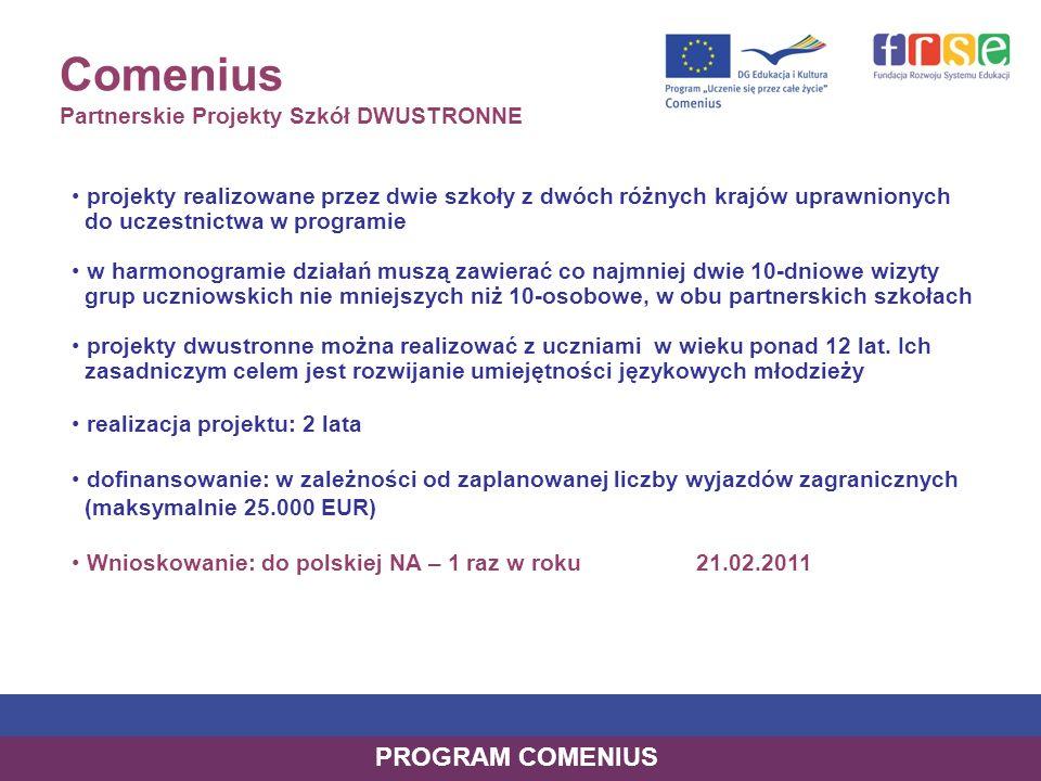 Comenius Partnerskie Projekty Szkół DWUSTRONNE projekty realizowane przez dwie szkoły z dwóch różnych krajów uprawnionych do uczestnictwa w programie