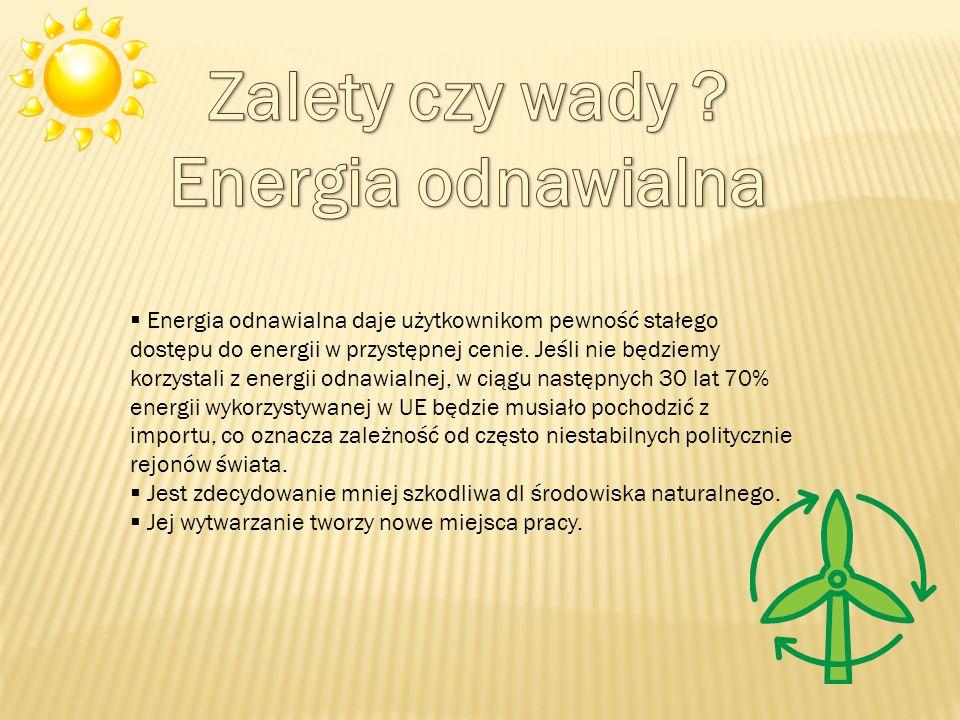 Energia odnawialna daje użytkownikom pewność stałego dostępu do energii w przystępnej cenie.