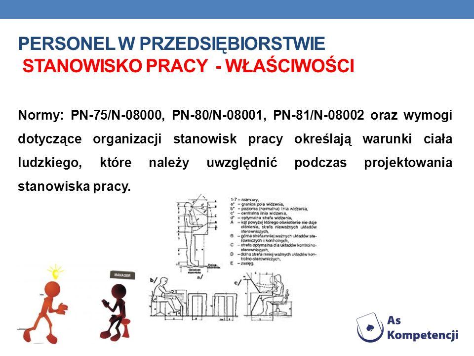 PERSONEL W PRZEDSIĘBIORSTWIE STANOWISKO PRACY - WŁAŚCIWOŚCI Normy: PN-75/N-08000, PN-80/N-08001, PN-81/N-08002 oraz wymogi dotyczące organizacji stanowisk pracy określają warunki ciała ludzkiego, które należy uwzględnić podczas projektowania stanowiska pracy.
