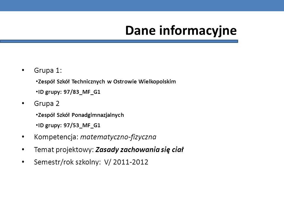 Dane informacyjne Grupa 1: Zespół Szkół Technicznych w Ostrowie Wielkopolskim ID grupy: 97/83_MF_G1 Grupa 2 Zespół Szkół Ponadgimnazjalnych ID grupy: