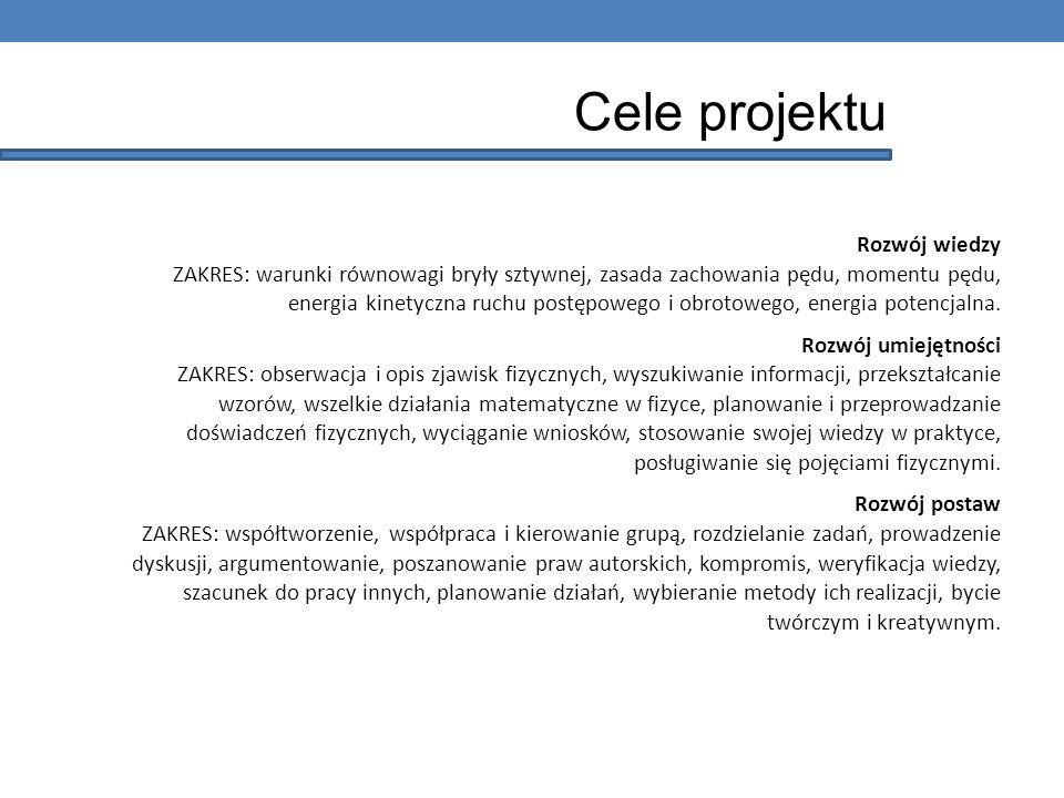 Cele projektu Rozwój wiedzy ZAKRES: warunki równowagi bryły sztywnej, zasada zachowania pędu, momentu pędu, energia kinetyczna ruchu postępowego i obr