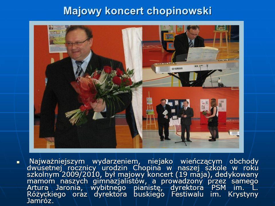 Majowy koncert chopinowski Najważniejszym wydarzeniem, niejako wieńczącym obchody dwusetnej rocznicy urodzin Chopina w naszej szkole w roku szkolnym 2009/2010, był majowy koncert (19 maja), dedykowany mamom naszych gimnazjalistów, a prowadzony przez samego Artura Jaronia, wybitnego pianistę, dyrektora PSM im.