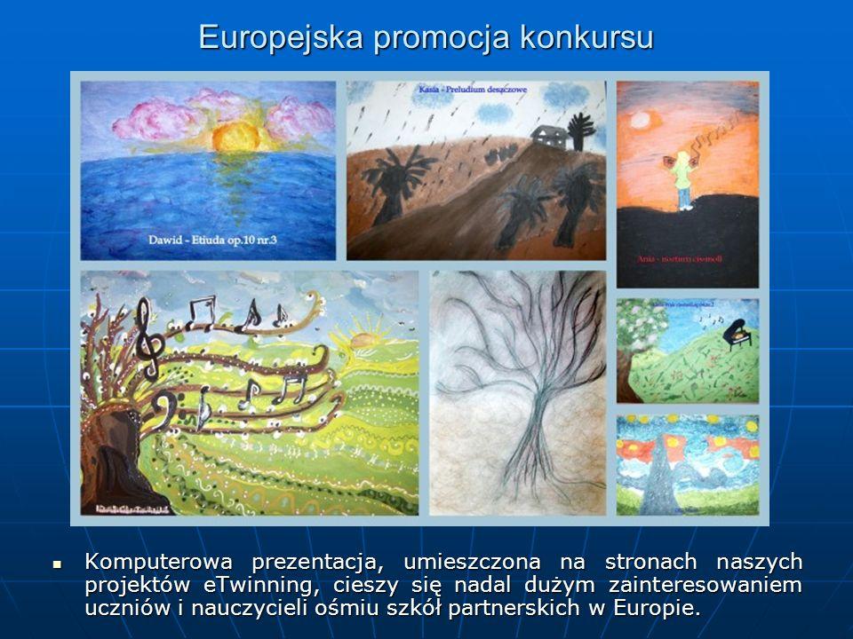 Europejska promocja konkursu Komputerowa prezentacja, umieszczona na stronach naszych projektów eTwinning, cieszy się nadal dużym zainteresowaniem uczniów i nauczycieli ośmiu szkół partnerskich w Europie.