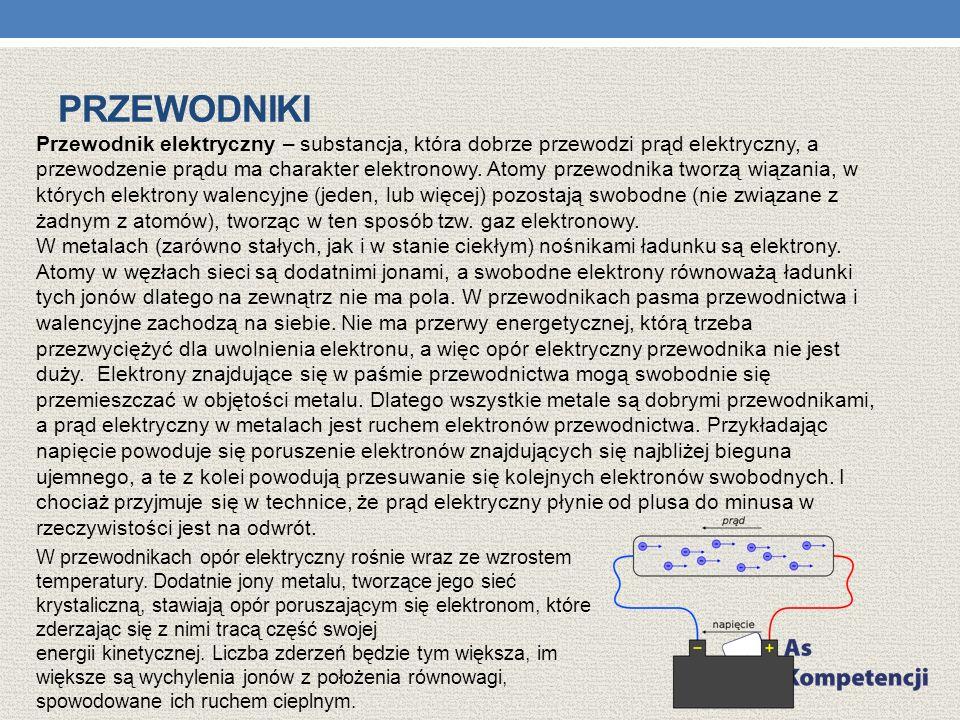 PRZEWODNIKI Przewodnik elektryczny – substancja, która dobrze przewodzi prąd elektryczny, a przewodzenie prądu ma charakter elektronowy. Atomy przewod