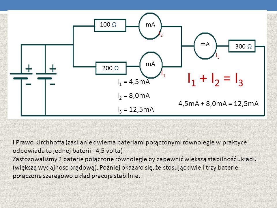 100 Ω 200 Ω mA 300 Ω I1I1 I2I2 I3I3 I 1 = 4,5mA I 2 = 8,0mA I 3 = 12,5mA I 1 + I 2 = I 3 4,5mA + 8,0mA = 12,5mA I Prawo Kirchhoffa (zasilanie dwiema b