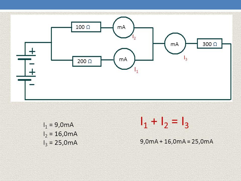 100 Ω 200 Ω mA I1I1 I2I2 I3I3 300 Ω I 1 = 9,0mA I 2 = 16,0mA I 3 = 25,0mA I 1 + I 2 = I 3 9,0mA + 16,0mA = 25,0mA