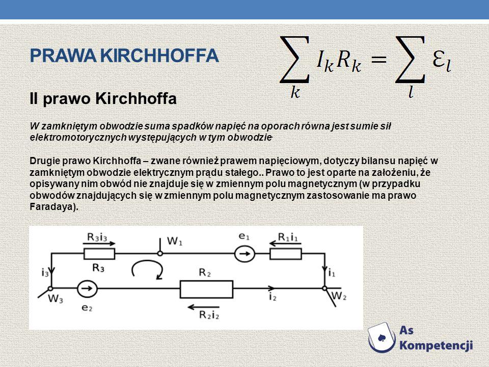PRAWA KIRCHHOFFA II prawo Kirchhoffa W zamkniętym obwodzie suma spadków napięć na oporach równa jest sumie sił elektromotorycznych występujących w tym