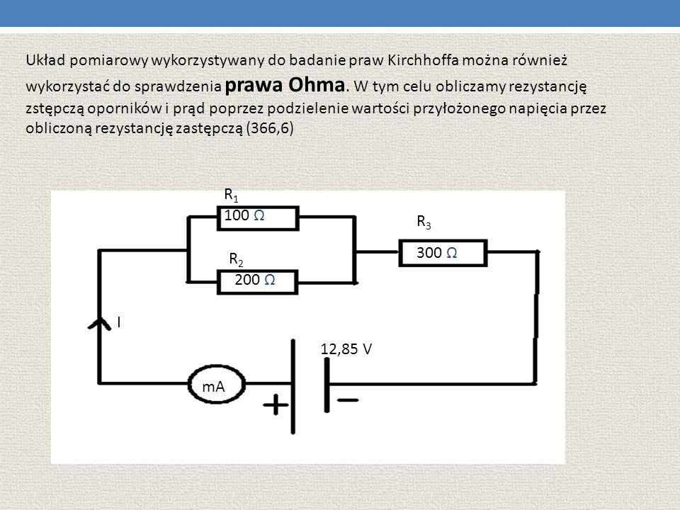 Układ pomiarowy wykorzystywany do badanie praw Kirchhoffa można również wykorzystać do sprawdzenia prawa Ohma. W tym celu obliczamy rezystancję zstępc