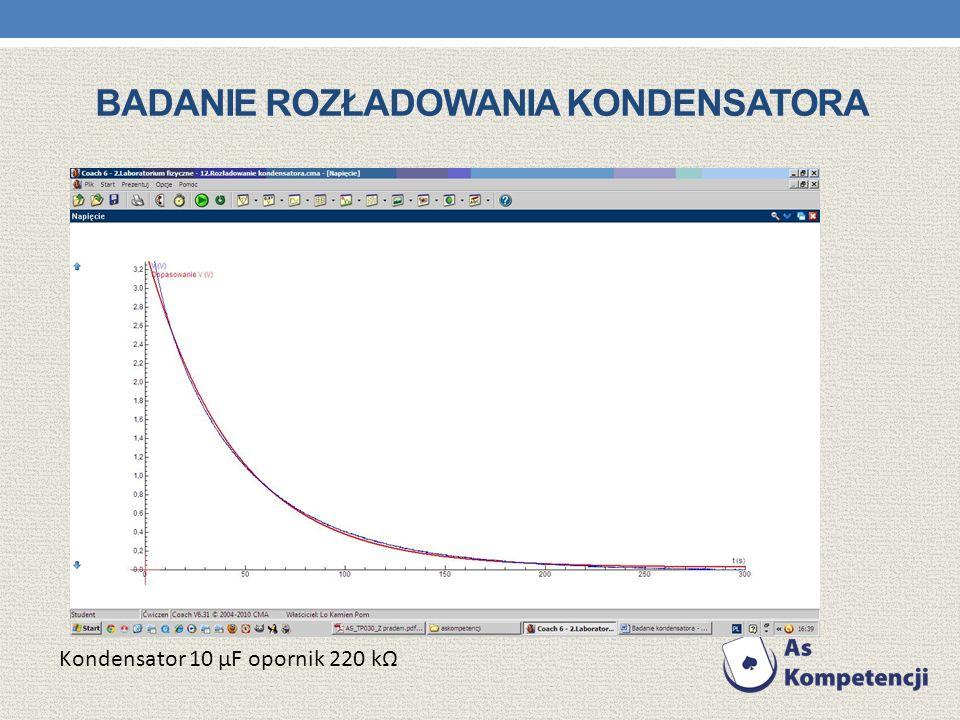 BADANIE ROZŁADOWANIA KONDENSATORA Kondensator 10 μF opornik 220 k