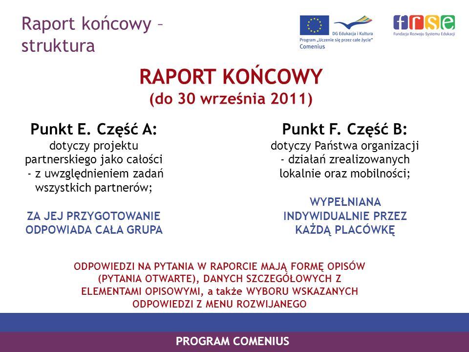 Raport końcowy – struktura PROGRAM COMENIUS RAPORT KOŃCOWY (do 30 września 2011) Punkt E. Część A: dotyczy projektu partnerskiego jako całości - z uwz