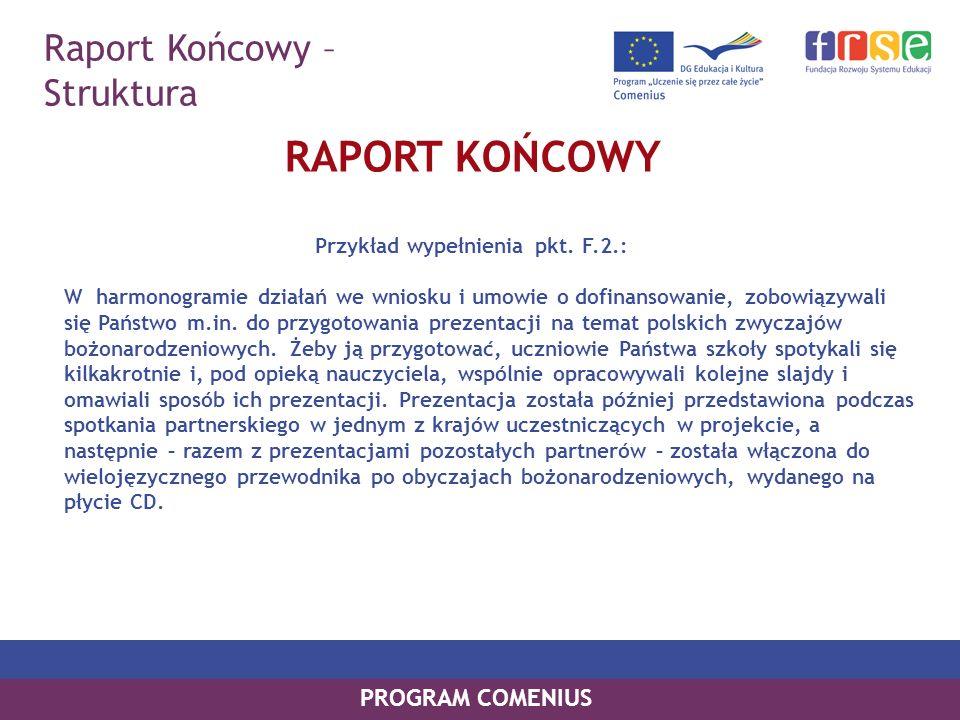 Raport Końcowy – Struktura PROGRAM COMENIUS RAPORT KOŃCOWY Przykład wypełnienia pkt. F.2.: W harmonogramie działań we wniosku i umowie o dofinansowani