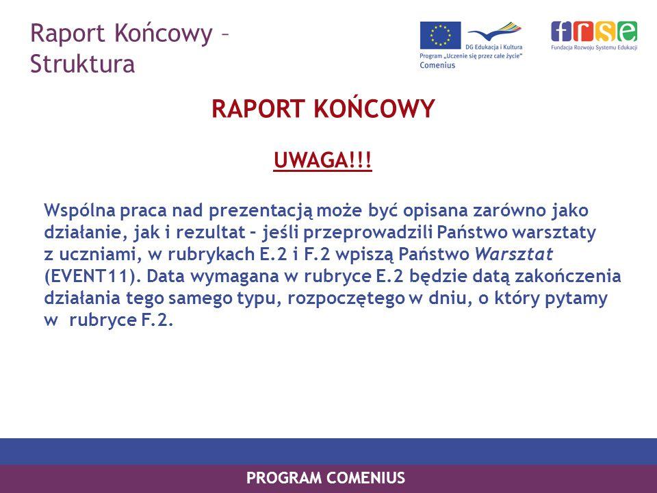 Raport Końcowy – Struktura PROGRAM COMENIUS RAPORT KOŃCOWY UWAGA!!! Wspólna praca nad prezentacją może być opisana zarówno jako działanie, jak i rezul