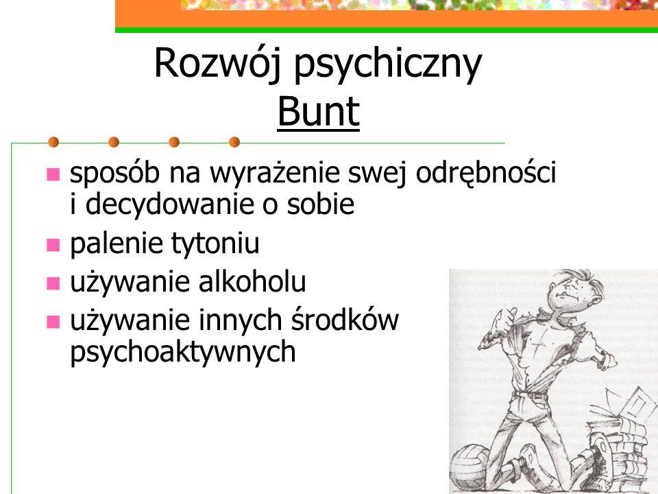 Rozwój psychiczny Bunt sposób na wyrażenie swej odrębności i decydowanie o sobie palenie tytoniu używanie alkoholu używanie innych środków psychoaktywnych