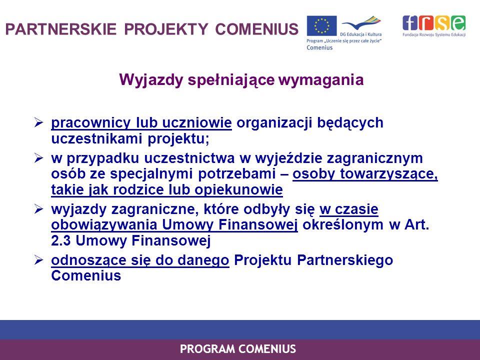 PROGRAM COMENIUS PARTNERSKIE PROJEKTY COMENIUS Wyjazdy spełniające wymagania pracownicy lub uczniowie organizacji będących uczestnikami projektu; w pr