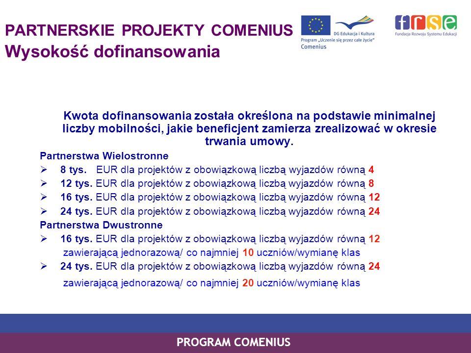 PROGRAM COMENIUS PARTNERSKIE PROJEKTY COMENIUS Wysokość dofinansowania Kwota dofinansowania została określona na podstawie minimalnej liczby mobilnośc