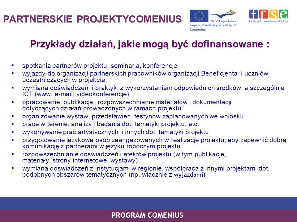 PROGRAM COMENIUS PARTNERSKIE PROJEKTYCOMENIUS Przykłady działań, jakie mogą być dofinansowane : spotkania partnerów projektu, seminaria, konferencje w