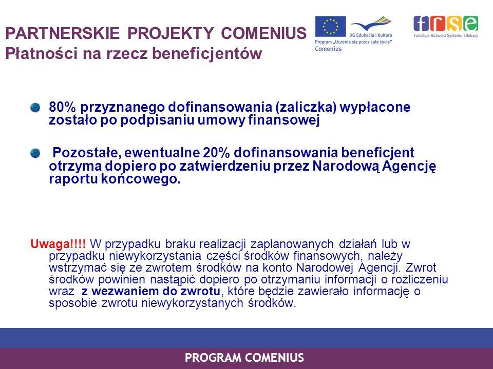 PROGRAM COMENIUS PARTNERSKIE PROJEKTY COMENIUS Płatności na rzecz beneficjentów 80% przyznanego dofinansowania (zaliczka) wypłacone zostało po podpisa