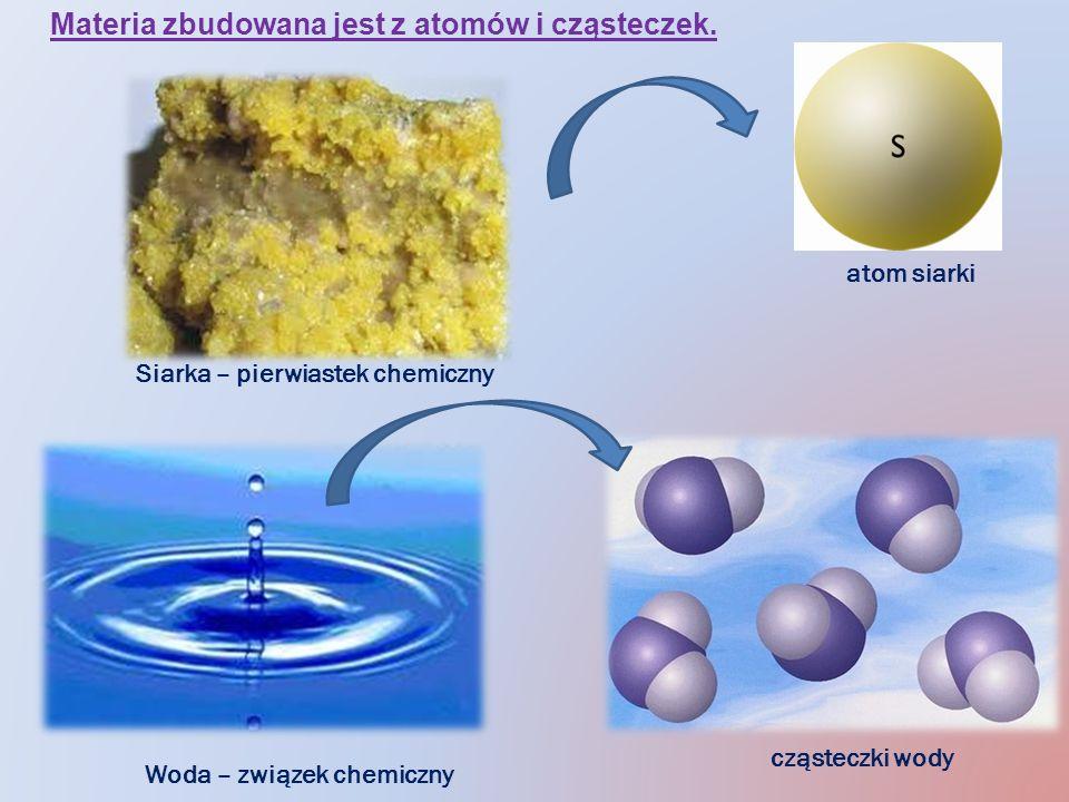 Siarka – pierwiastek chemiczny atom siarki Woda – związek chemiczny cząsteczki wody Materia zbudowana jest z atomów i cząsteczek.