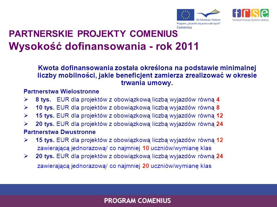 PROGRAM COMENIUS PARTNERSKIE PROJEKTY COMENIUS Wysokość dofinansowania - rok 2011 Kwota dofinansowania została określona na podstawie minimalnej liczb