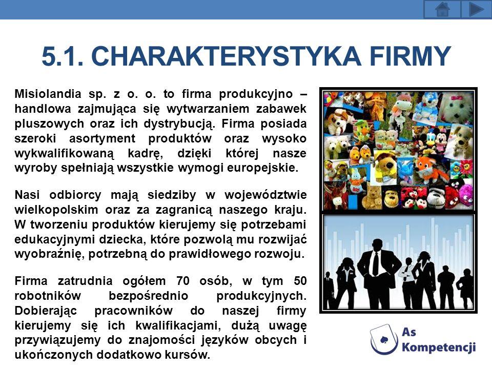 5.1. CHARAKTERYSTYKA FIRMY Misiolandia sp. z o. o. to firma produkcyjno – handlowa zajmująca się wytwarzaniem zabawek pluszowych oraz ich dystrybucją.