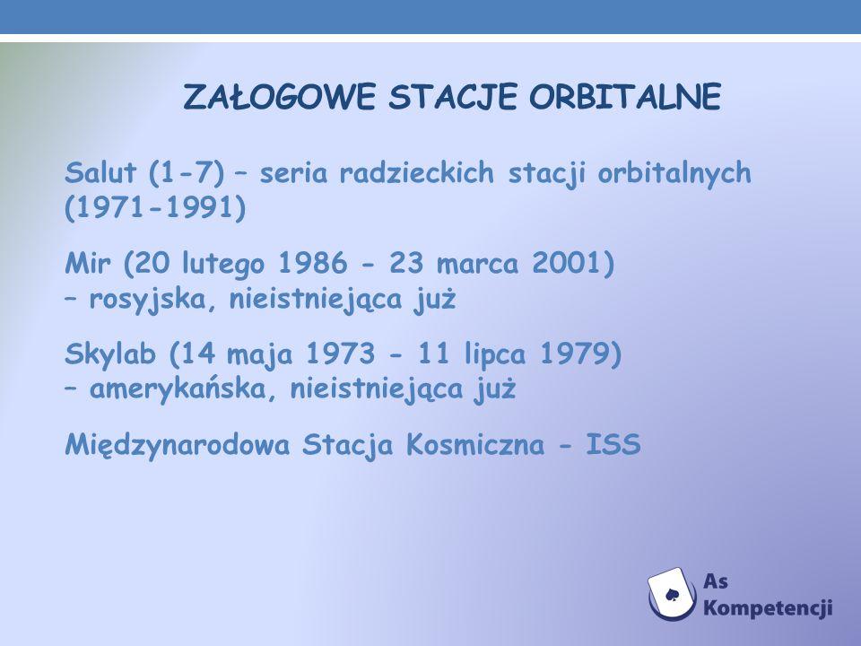 ZAŁOGOWE STACJE ORBITALNE Salut (1-7) – seria radzieckich stacji orbitalnych (1971-1991) Mir (20 lutego 1986 - 23 marca 2001) – rosyjska, nieistniejąc