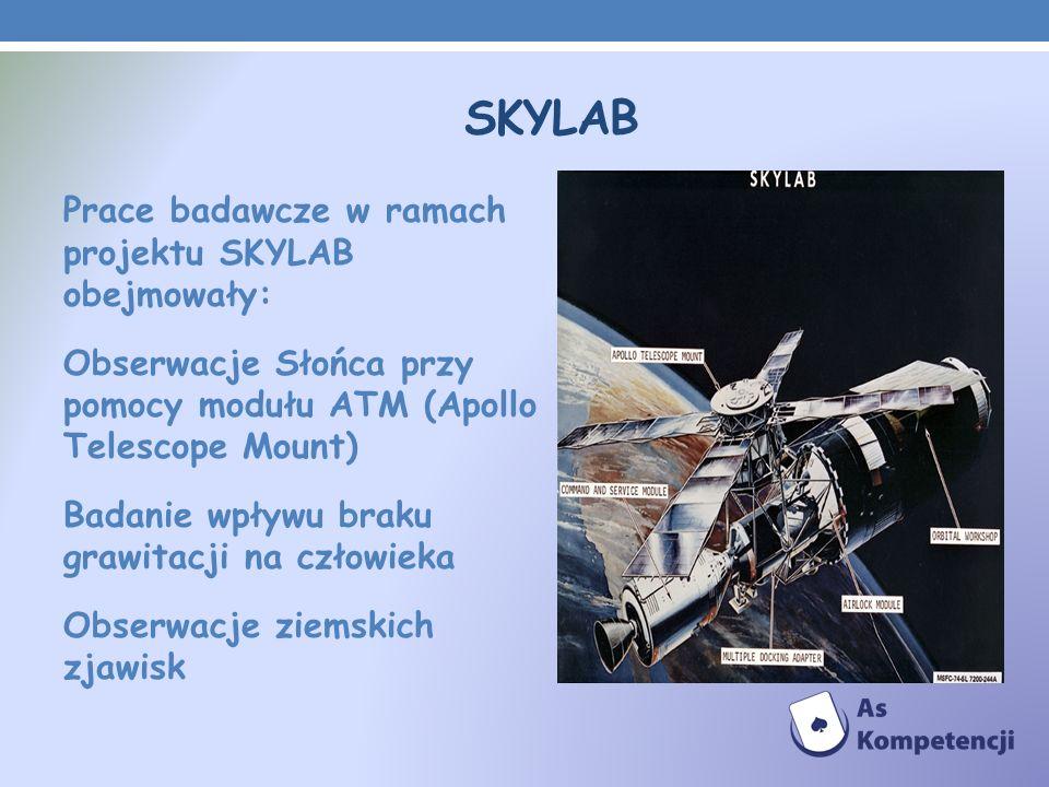 SKYLAB Prace badawcze w ramach projektu SKYLAB obejmowały: Obserwacje Słońca przy pomocy modułu ATM (Apollo Telescope Mount) Badanie wpływu braku graw