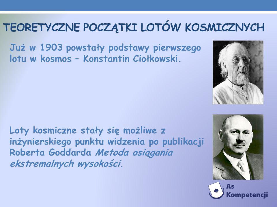 TEORETYCZNE POCZĄTKI LOTÓW KOSMICZNYCH Już w 1903 powstały podstawy pierwszego lotu w kosmos – Konstantin Ciołkowski. Loty kosmiczne stały się możliwe