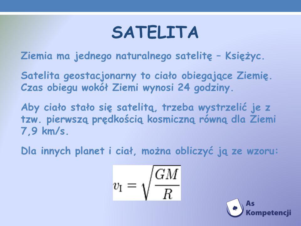 SATELITA Ziemia ma jednego naturalnego satelitę – Księżyc. Satelita geostacjonarny to ciało obiegające Ziemię. Czas obiegu wokół Ziemi wynosi 24 godzi