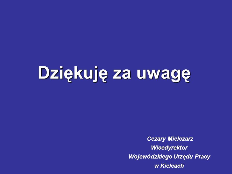 Dziękuję za uwagę Cezary Mielczarz Wicedyrektor Wojewódzkiego Urzędu Pracy w Kielcach