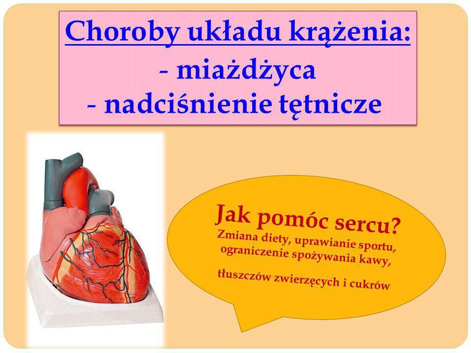 Choroby układu krążenia: - miażdżyca - nadciśnienie tętnicze Choroby układu krążenia: - miażdżyca - nadciśnienie tętnicze Jak pomóc sercu? Zmiana diet