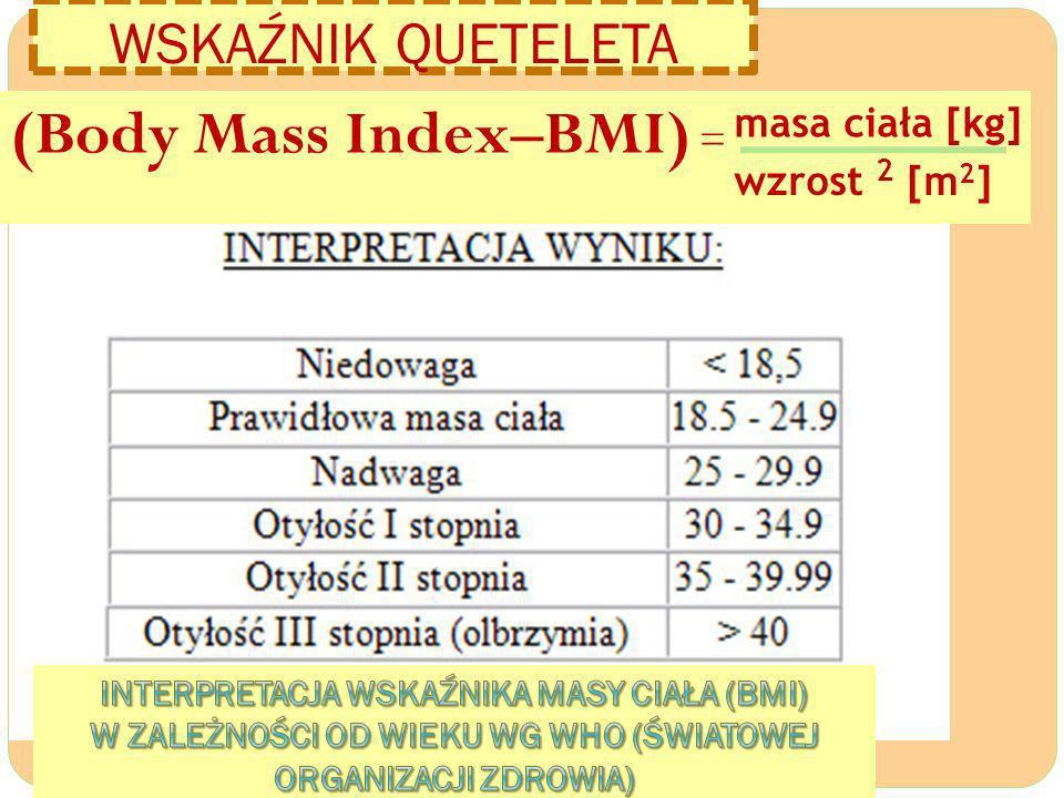 WSKAŹNIK QUETELETA (Body Mass Index–BMI) = masa ciała [kg] wzrost 2 [m 2 ]