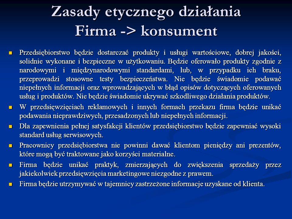 Zasady etycznego działania Firma -> konsument Przedsiębiorstwo będzie dostarczać produkty i usługi wartościowe, dobrej jakości, solidnie wykonane i be